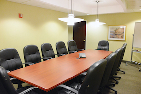 Hudson Meeting Room seats 12 people and includes Internet, conference call capabilities