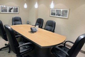 Lexington Meeting Room seats 6 people and includes Internet, conferencing, whiteboard